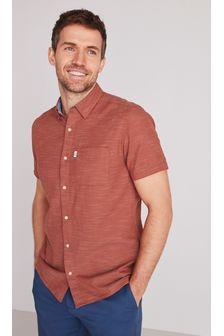 Textured Cross Linen Blend Shirt