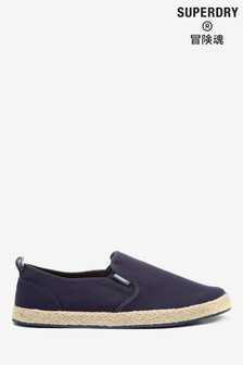 New Mens Superdry Blue Canvas Shoes  Slip On SUMMER HOLIDAYS