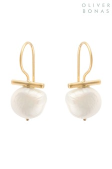 Oliver Bonas Gold Plated Almeta Freshwater Pearl & Bar Earrings