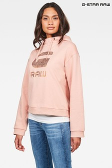G-Star Pink Graphic 21 Lynaz Hooded Sweat Top