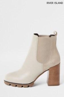 River Island Ecru Tops Chunky Cleated Chelsea Boots