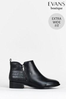 Evans Curve Extra Wide Fit Black Croc Zip Side Boots