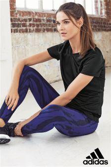 Фиолетовые спортивные леггинсы с принтом adidas