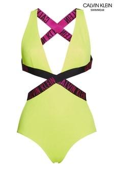 Calvin Klein Yellow Intense Power Crossover Swimsuit