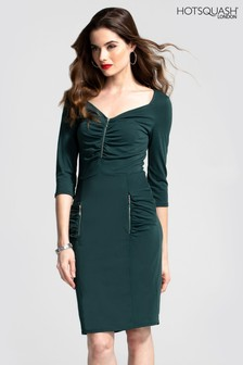 HotSquash Ruched Sweetheart Dress With Zip Detail