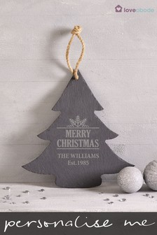 Personalised Slate Christmas Tree Sign by Loveabode