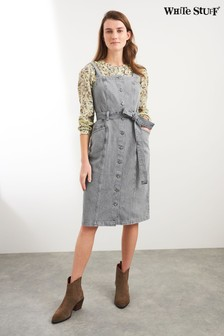 White Stuff Grey Farrow Denim Pinafore Dress