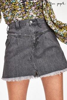 Free People Frayed Denim Mini Skirt