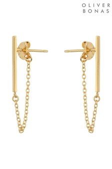 Oliver Bonas Gold Plated Bar & Chain Drop Stud Earrings
