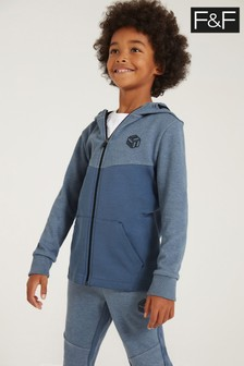 F&F Blue Cut And Sew Zip Through Hoody