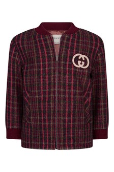 Baby Boys Red Wool Check Bomber Jacket