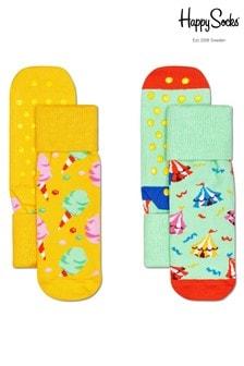Happy Socks Kids Circus 2 Pack Non Slip Socks