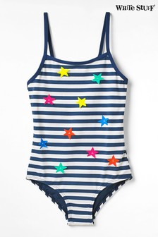 White Stuff Blue Kids Stripe & Stars Swimsuit
