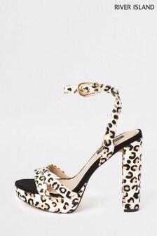 River Island Leopard Print Bossy Slim Platform Heels