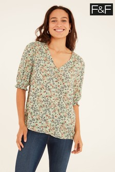 F&F Green Ditsy Callie Top