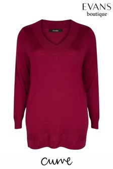Evans Curve Berry Ribbed V-Neck Jumper