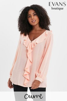 Evans Pink Curve Blush Frill Long Sleeve Top