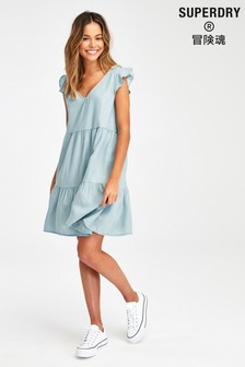 Superdry Denim Tiered Dress