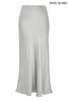 River Island Silver Bias Satin Asymmetric Skirt