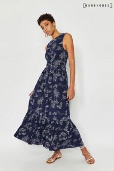 Warehouse Blue Aloha Tiered Midi Dress