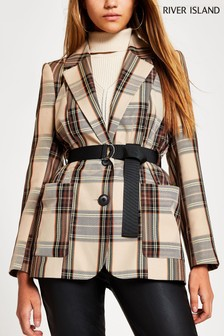 River Island Brown Check Belted Turlington Jacket