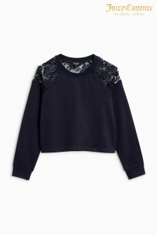Juicy Couture Blue Lace Detail Sweater