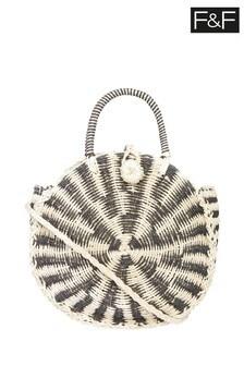F&F Neutral L Ladies Straw Circle Bag