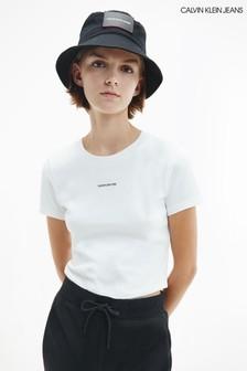 Calvin Klein Jeans White Micro Branding Crop Top
