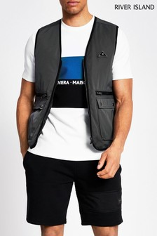 River Island Grey Badged Nylon Gilet