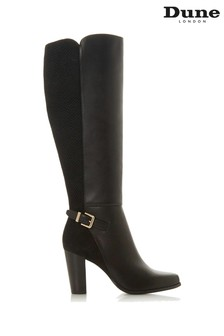Dune London Samuella Black Leather Knee High Strap Boots