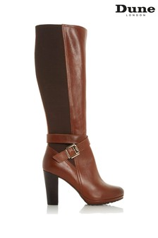 Dune London Sebby Tan Leather Knee High Buckle Strap Boots