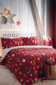 Fusion Elf and Santa Duvet Cover and Pillowcase Set