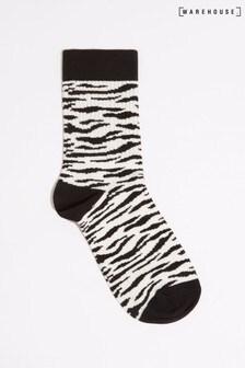 Warehouse Animal Zebra Print Socks