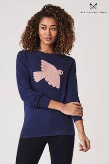 סוודר Intarsia כחול בהדפס ציפור של Crew Clothing