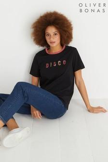 تي شيرت مطبوع Disco أسود من Oliver Bonas