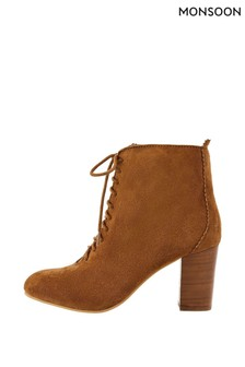 Monsoon Tan Lia Suede Lace-Up Ankle Boots