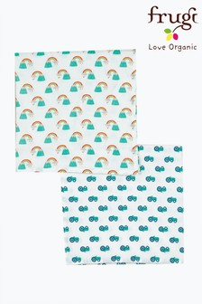 Frugi GOTS Organic Muslins Two Pack In Rainbow Print