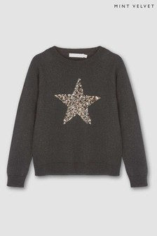 Mintie by Mint Velvet Black Animal Star Knit Jumper