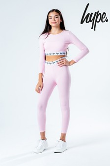 Hype. Pink Crop T-Shirt And Leggings Set