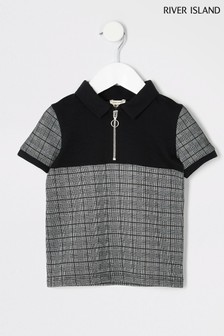 River Island Black Maison Checked Poloshirt