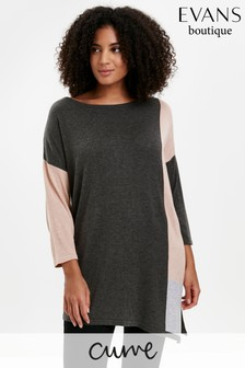 Evans Curve Grey Colourblock Asymmetric Jumper