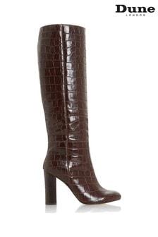 Hnedé kožené čižmy po kolená na opätkoch Dune London Simonne