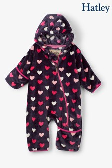Hatley Blue Lovey Hearts Fuzzy Fleece Baby Bundler