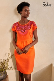 Boden Orange Fleur Embroidered Linen Dress