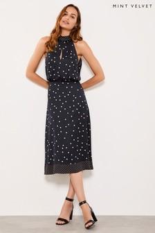 Mint Velvet Bronze Rust Spot Halter Dress