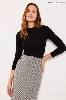 Mint Velvet White Check Belted Pencil Skirt