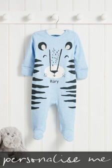 Personalised Blue Tiger Sleepsuit