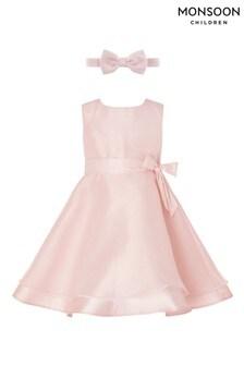 Monsoon Pink Baby Organza Dress and Bando Set