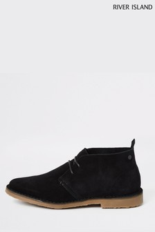 River Island Black Suede Desert Boots