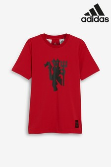 adidas Red Manchester United Graphic T-Shirt